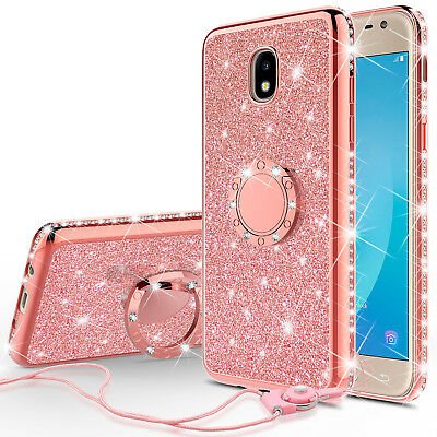 Galaxy J3 2018/J3 Star/J3 Achieve Glitter Cute Phone Case Girls Kickstand Pink