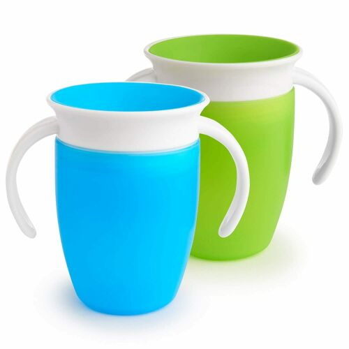 Munchkin Miracle 360 Trainer Cup, Green Blue, 7 Oz, 2 Count