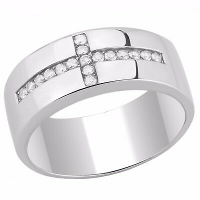 Round Set Cross (Round Clear CZ Set on Cross Shape 316 Stainless Steel Mens Ring )