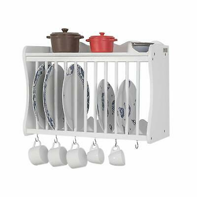 Kitchen Plate Mugs Storage Rack Wooden Wall Mounted Unit Dish Drying Cage Shelf