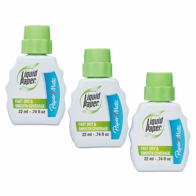 Liquid Paper Fast Dry Correction Fluid 22 ml Bottle White 3/Pack 5643115