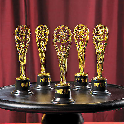 12 Movie Buff Gold Trophies Cup Trophy Award Oscar TV Hollywood Party Favors](Plastic Trophy)
