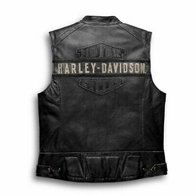 Harley Davidson Vest Biker Cafe Racer Motorcycle Genuine Leather Jacket For Mens