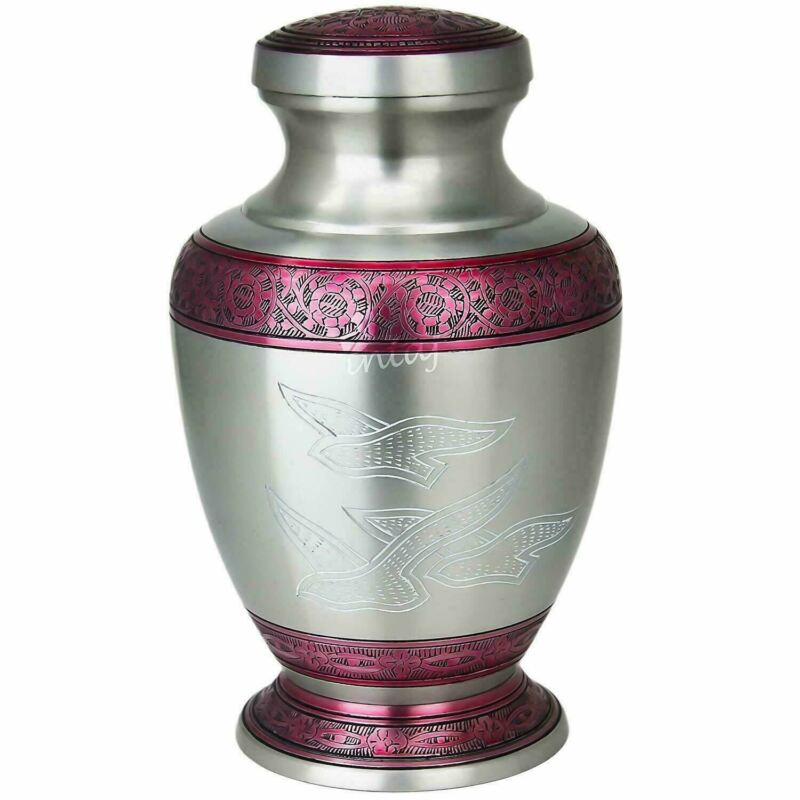 Cremation Urn for Human Ashes Adult Funeral Urns Silver & Peaceful Red 200Cu/In