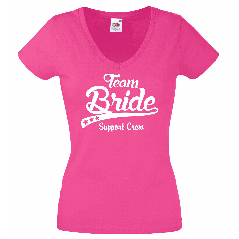 Damen T-Shirt JGA Junggesellenabschied TEAM BRIDE Support Crew V-Ausschnitt