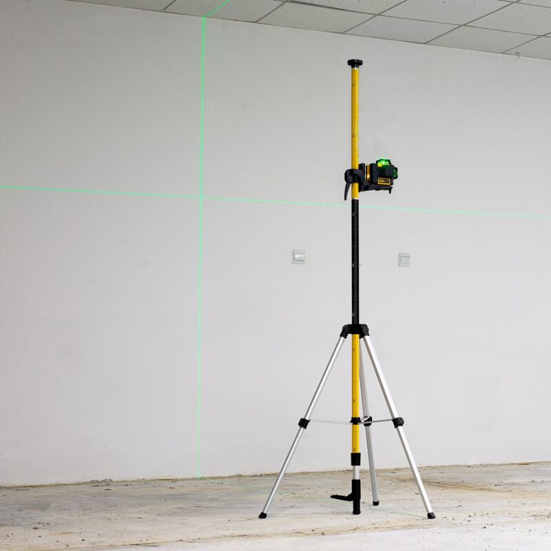 """3.7m/12ft Laser Level Telescoping Pole with Tripod Mount Thread Size 1/4"""" 5/8"""""""