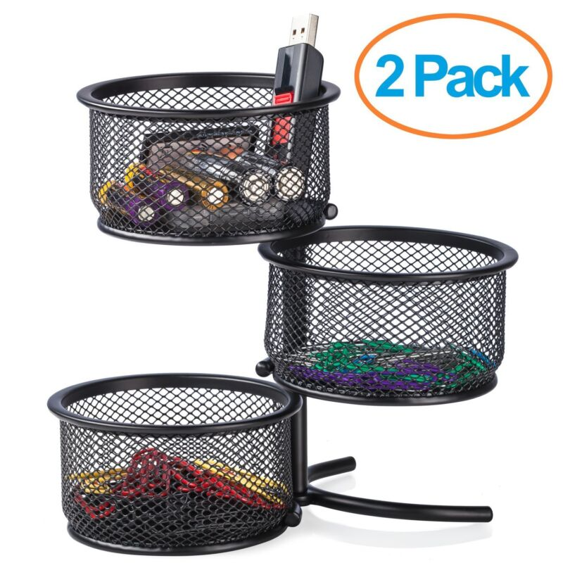 Halter Steel Mesh 3 Tier Rotating Office Supply Stand -2 Pack - (Black)