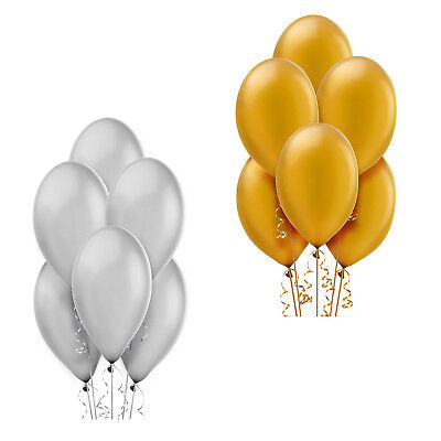 100 Pearlized Latex Balloons Wedding Birthday Party Decorations ~ Gold, Silver](Pearlized Balloons)