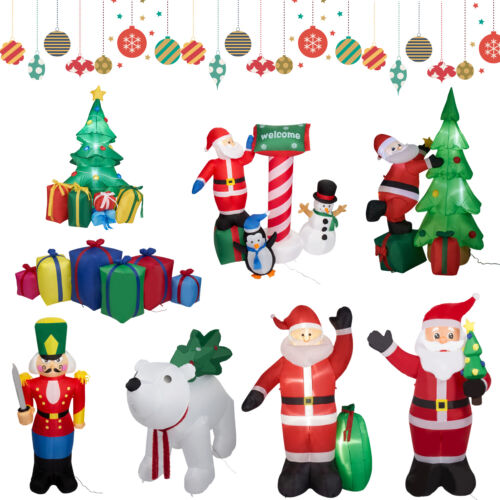Inflatable Christmas Santa Claus Yard Decor with LED Lighted Outdoor Decoration