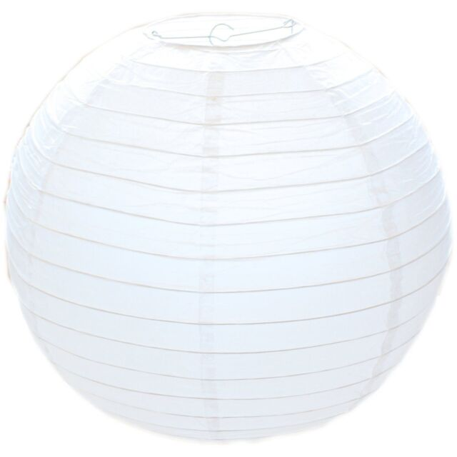 30cm White Paper Lampshade -Classic Bamboo Style Ribbed Paper Lantern Lamp Shade