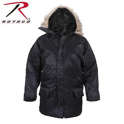 Black N-3b Snorkel Parka (ROTHCO 9390 BLACK COLD WEATHER N-3B MILITARY MENS SNORKEL PARKA JACKET XS TO 3X )