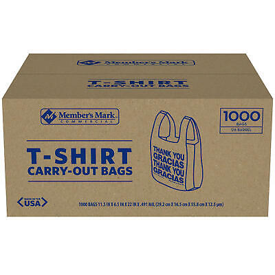 Members Mark T-shirt Carry-out Bags 1000 Ct Free Shipping