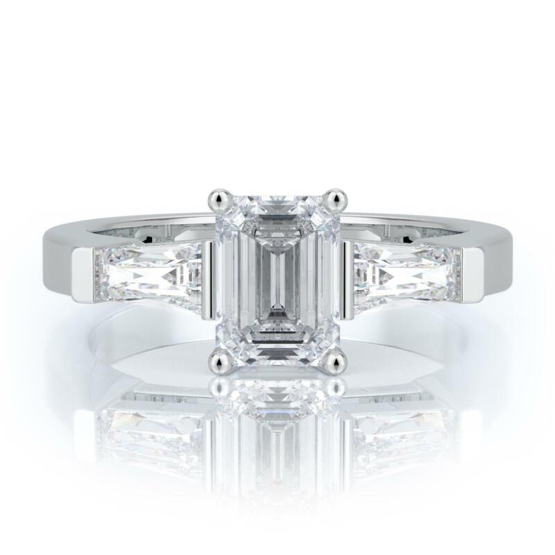 1.5 Carat D Vs2 Emerald Diamond Engagement Ring 14k White Gold Certified