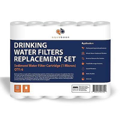 Aquaboon 1 Micron Sediment Water Filter Cartridge 6 Pack