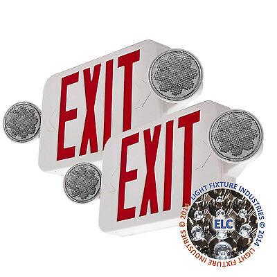 2pack Led Exit Sign Emergency Light Hi Output Red Compact Combo Ul Comborjr2