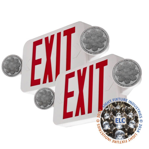 2Pack LED Exit Sign Emergency Light – Hi Output RED Compact Combo UL COMBORJR2