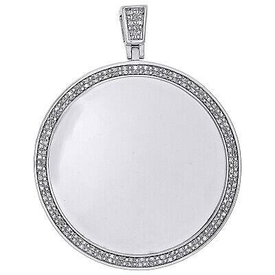 Medallion Picture Frame (Sterling Silver Diamond Medallion Picture Memory Frame Pendant 2.3