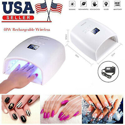 48W Cordless LED/UV Nail Lamp Light Gel Polish Nail Dryer Wireless Rechargeable