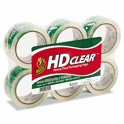 Duck Heavy-duty Carton Packaging Tape 1.88 X 55yds Clear 6 Rolls Cs556pk