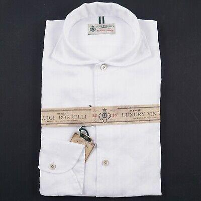 Luigi Borrelli Solid White Extrafine Linen Button Front Shirt XL NWT