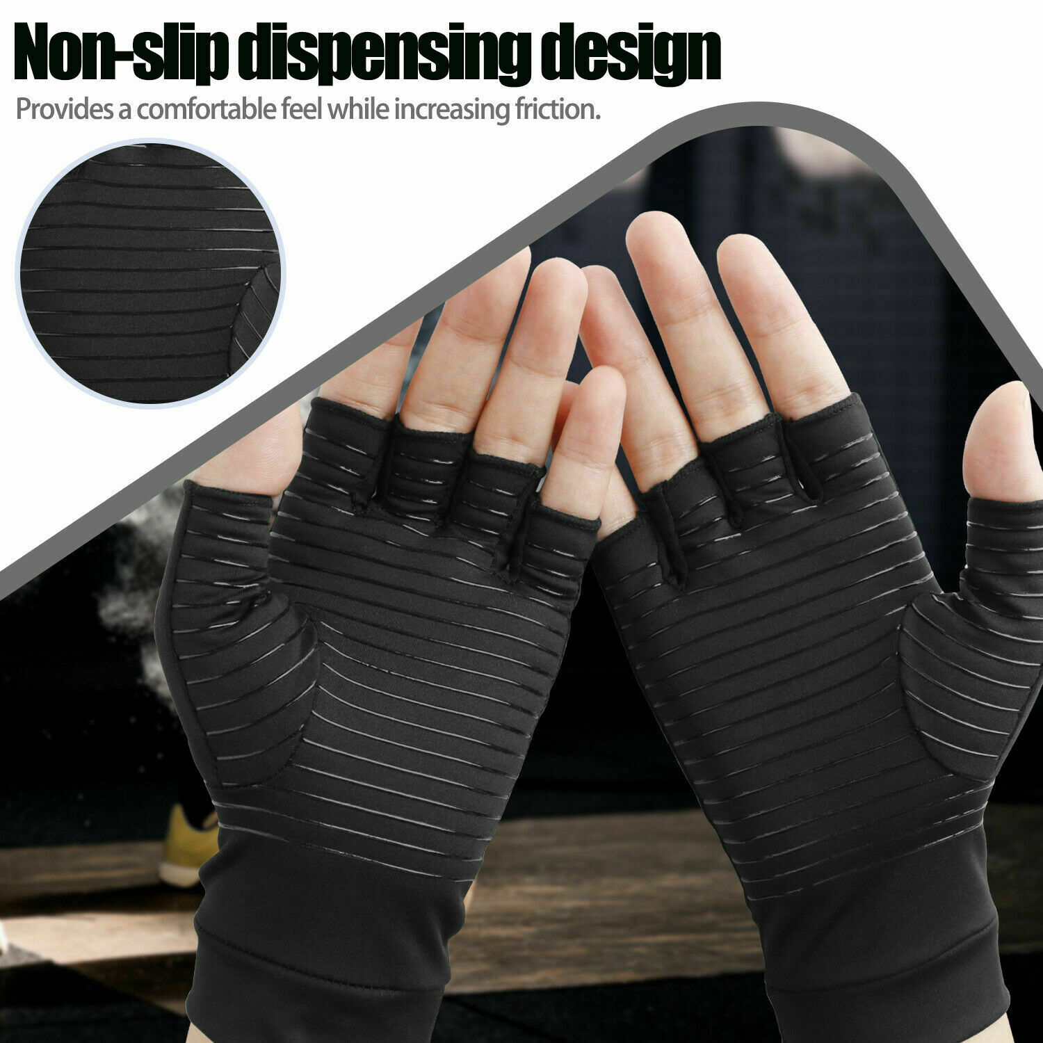 1/2x Copper Arthritis Compression Gloves Hand Guard Support Joint Pain Relief US - $9.99