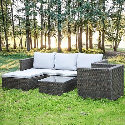 Garden Furniture - Patio Rattan Lounge Garden Furniture Set Chairs Table Outdoor + Pillow & Cushion