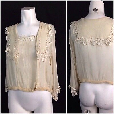Vintage 1920s Creme Sheer Silk Embroidery Flapper Blouse Top Floral Lace Trim L