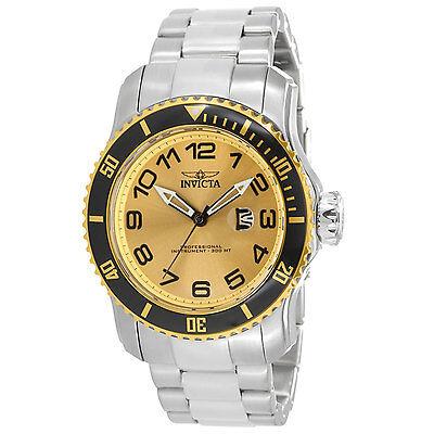 Invicta 15074 Men\s Pro Diver Gold Tone Dial Steel Bracelet Watch
