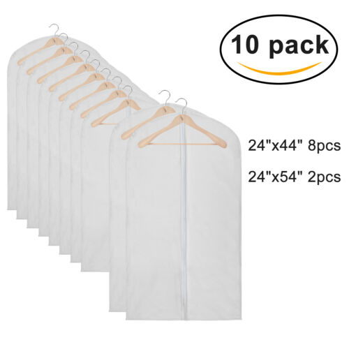 10pcs Transparent Garment Bag Suit Dress Overcoat Clothes Du
