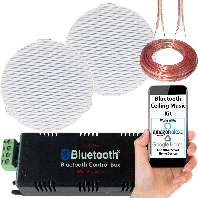 Bluetooth Ceiling Music Kit -Mini Amp & 2 Low Profile Speake
