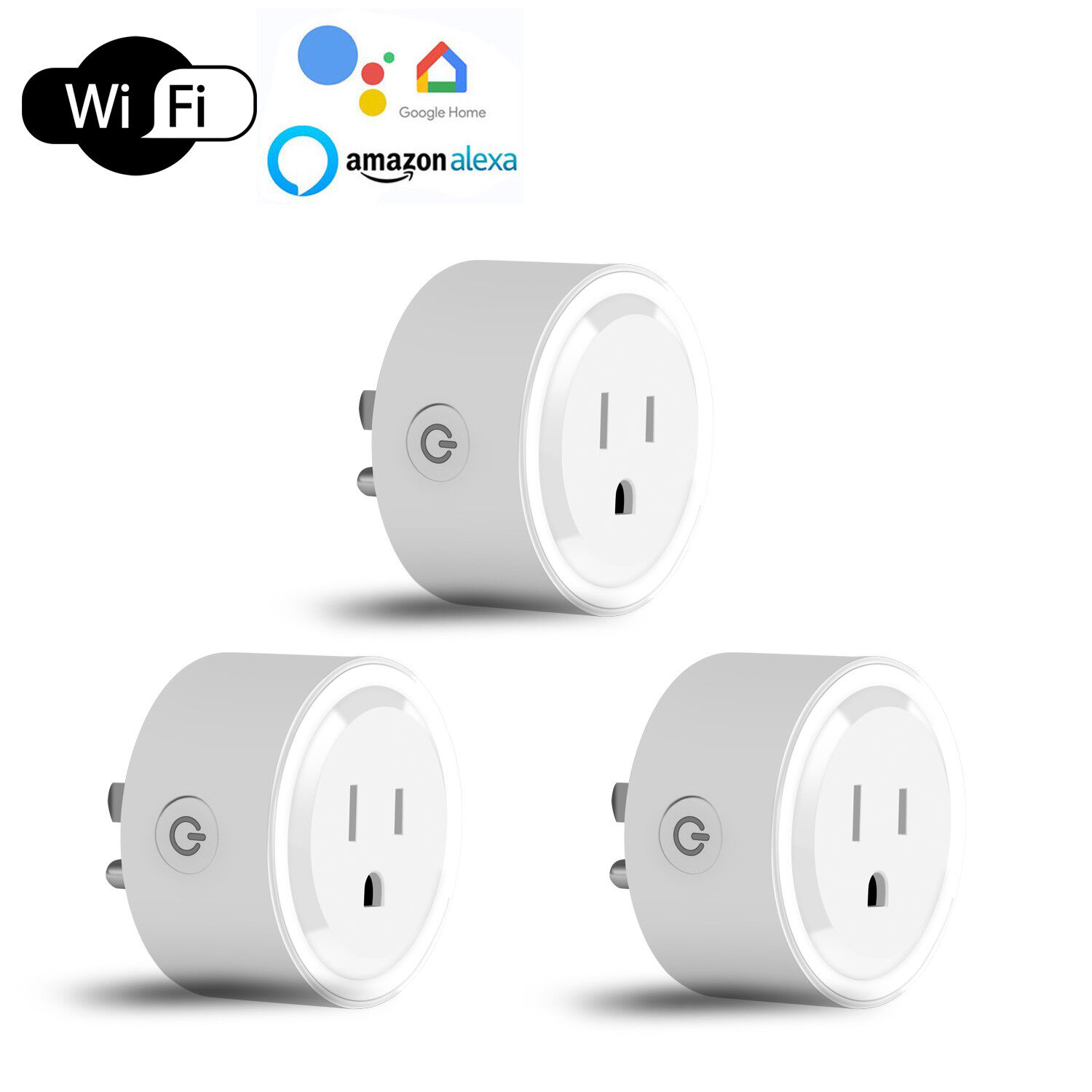 3 Wifi Smart Outlet Adapter Plug Socket Switch Work With Alexa/Google Home/IFTTT