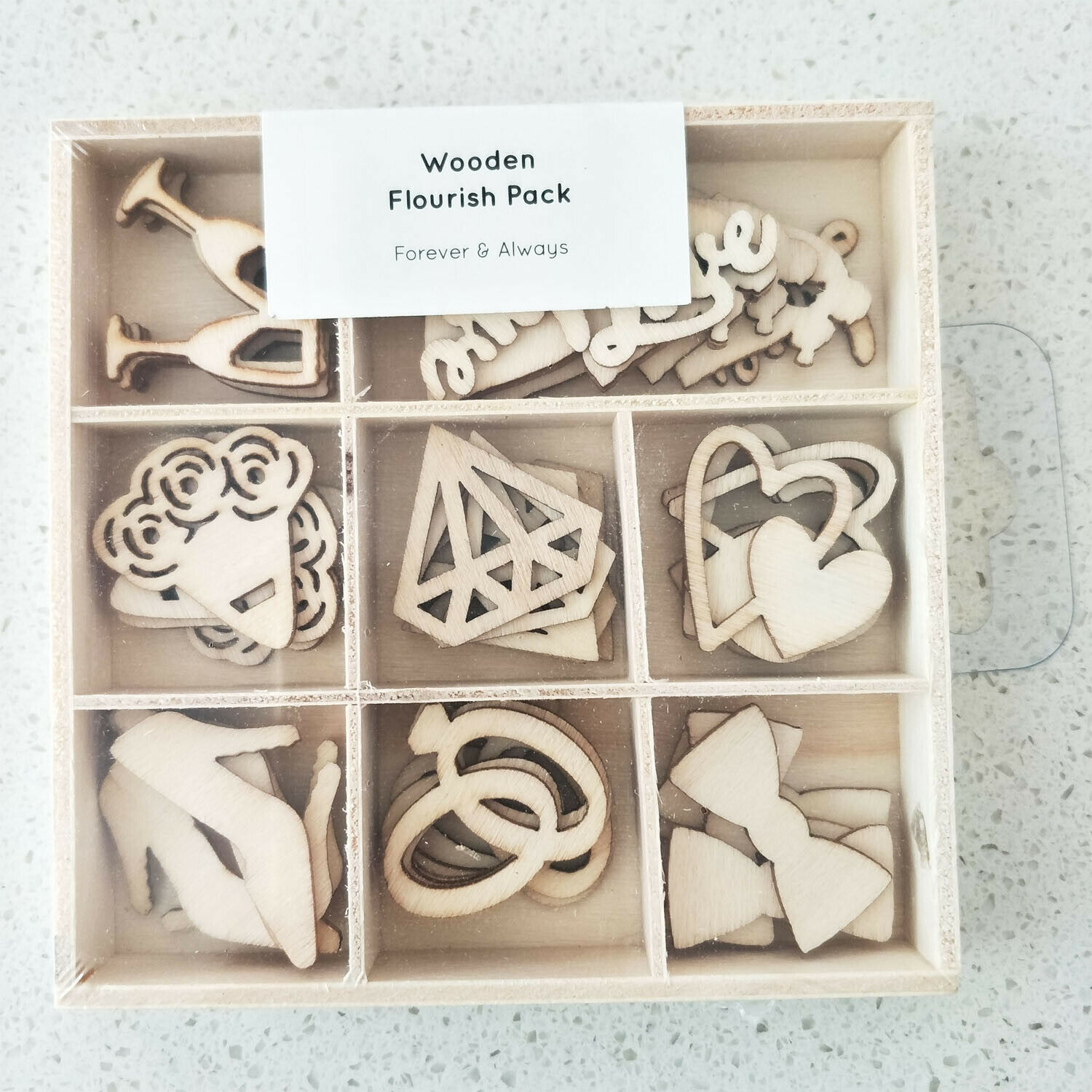 Kaisercraft Wooden Flourish packs / storage box 74 selections - Forever $ Always