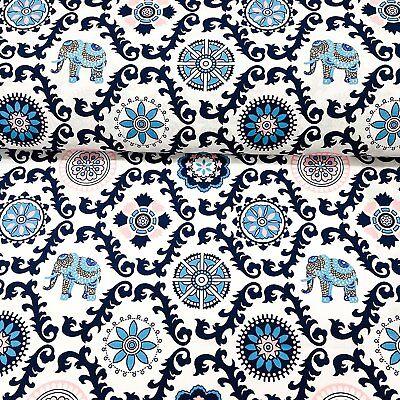 Baumwollstoff Meterware 0,5lfm 1,6m breit 100Baumwolle Elefant indisches Muster