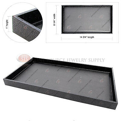 Black Wooden Sample Display Tray Organizer Covered Faux Leather 14 34 X 8 14
