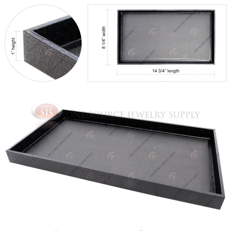 """Black Wooden Sample Display Tray Organizer Covered Faux Leather 14 3/4"""" x 8 1/4"""""""