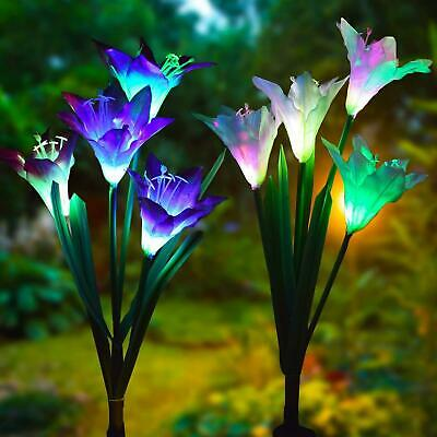 2 Pack Solar Power Lily Flower LED Lights Garden Stake Lamp Yard Outdoor Deco](Flower Led)