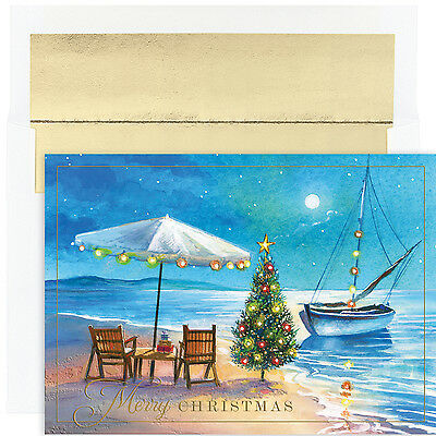 Shoreline Greetings Beach Themed Boxed Holiday Christmas Cards Set of 18 (Beach Theme Christmas Cards)