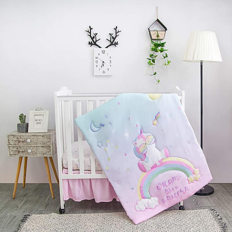 unicorn baby nursery mini portable crib bedding