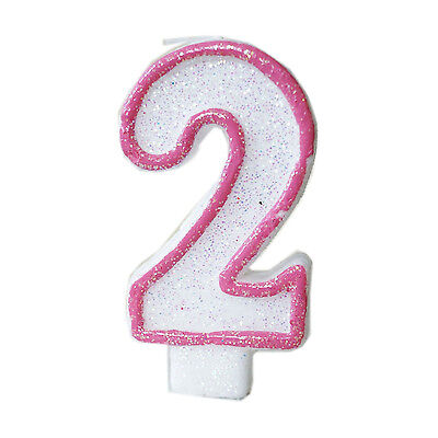 Pink Glitter Sprinkles 2 Number Candle White Premium 2nd Birthday Cake Candle - Number 2 Candle
