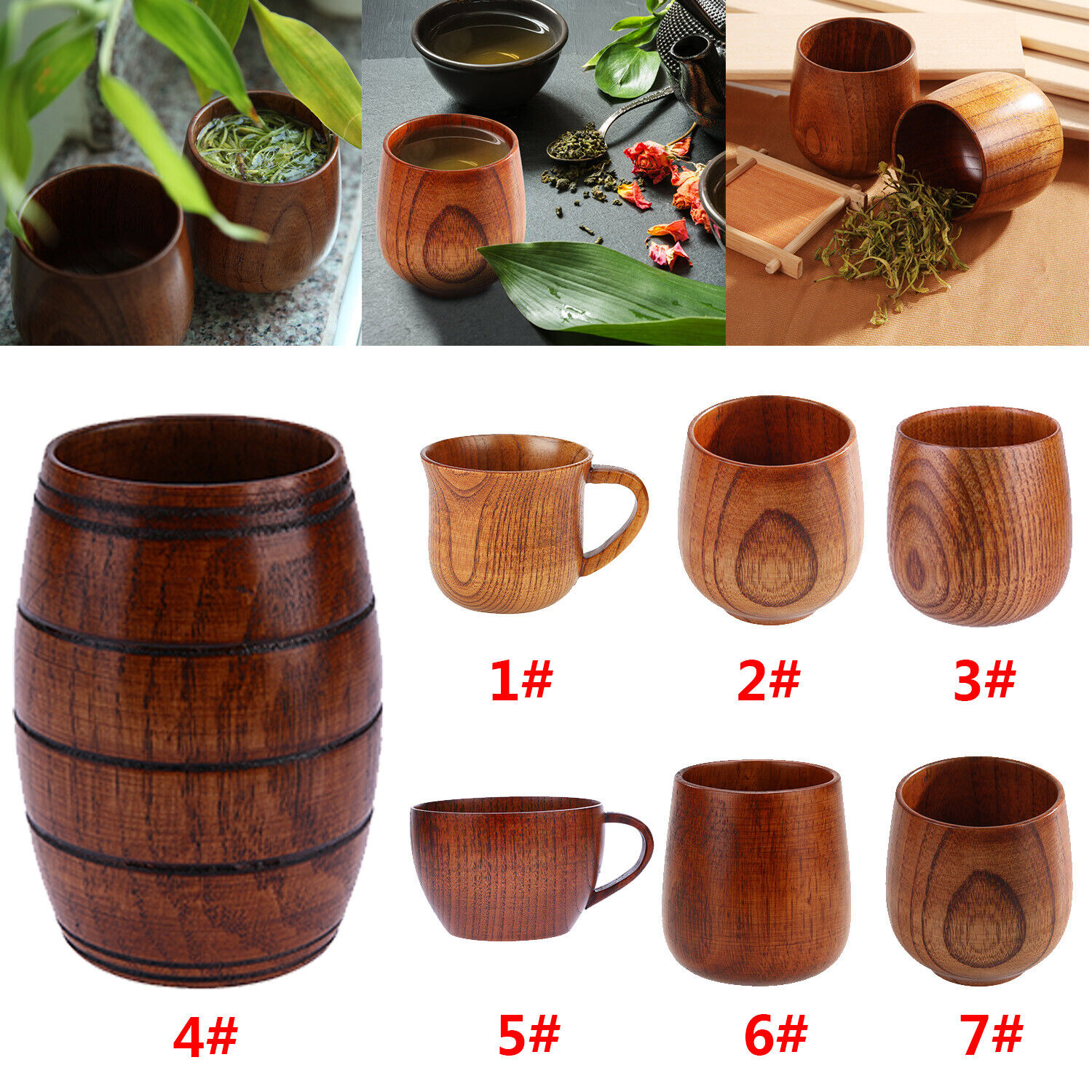 Wooden Cup Primitive Handmade Natural Wood Coffee Tea Beer W