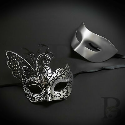 His and Hers Couples Venetian Masquerade Masks Silver Butterfly Ball