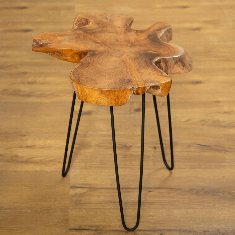 WOHNFREUDEN Beistell-Tisch Ozaki aus Teakholz und Eisen 45 x 35 x 50 cm schwarz