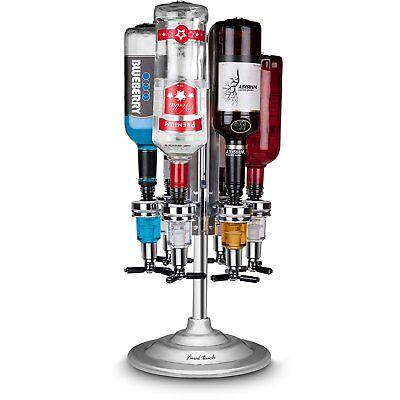 Rotary Stand 6 Bottle Liquor Drinks Bar Cocktail Spirit Caddy Dispenser Set Uk