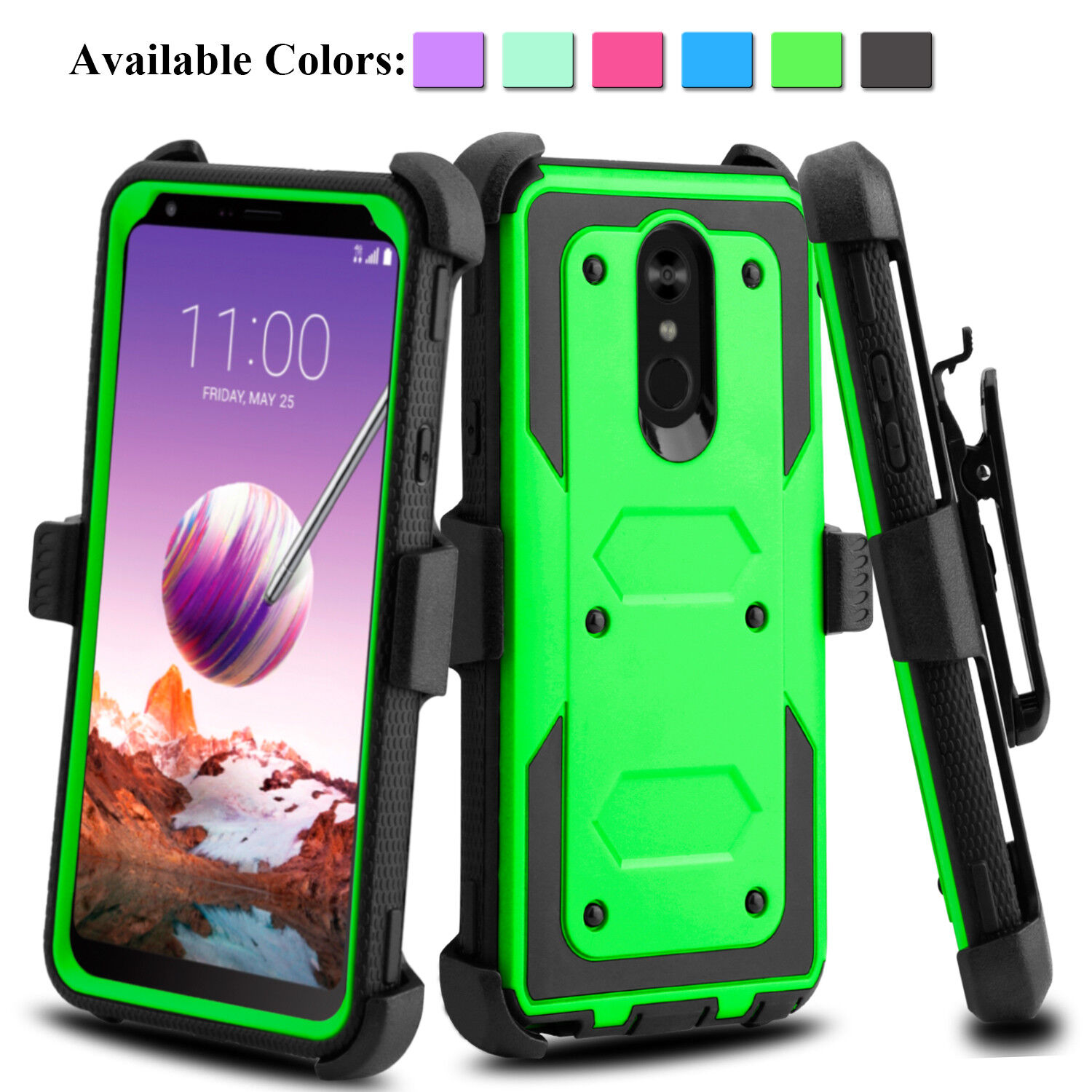 For LG Stylo 4 / Stylus 3 Plus Phone Case Shockproof With Kickstand Clip Holster