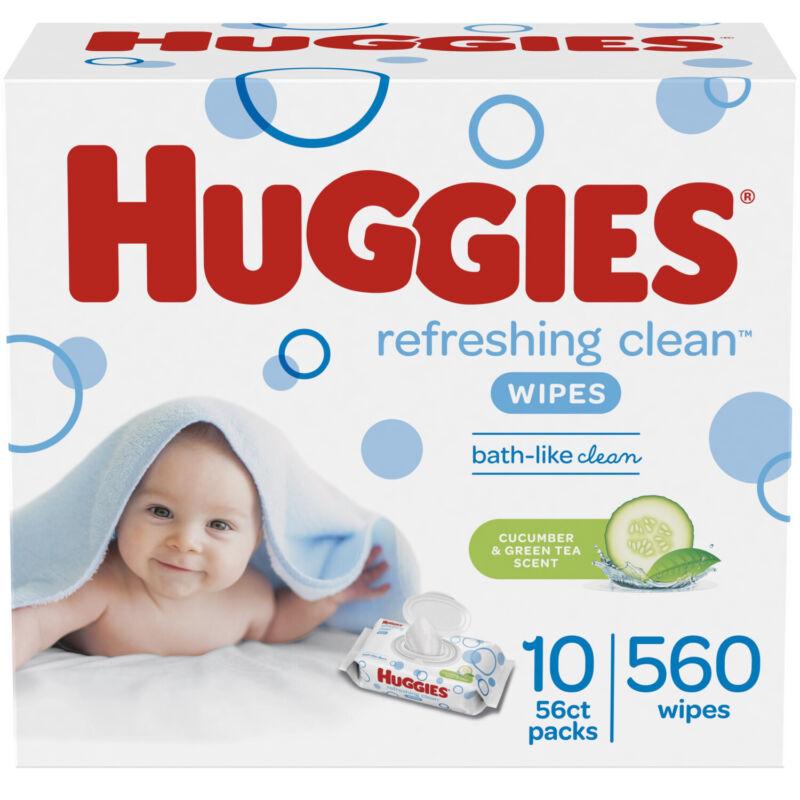 HUGGIES Refreshing Clean Scented Baby Wipes, Hypoallergenic Flip-top Packs