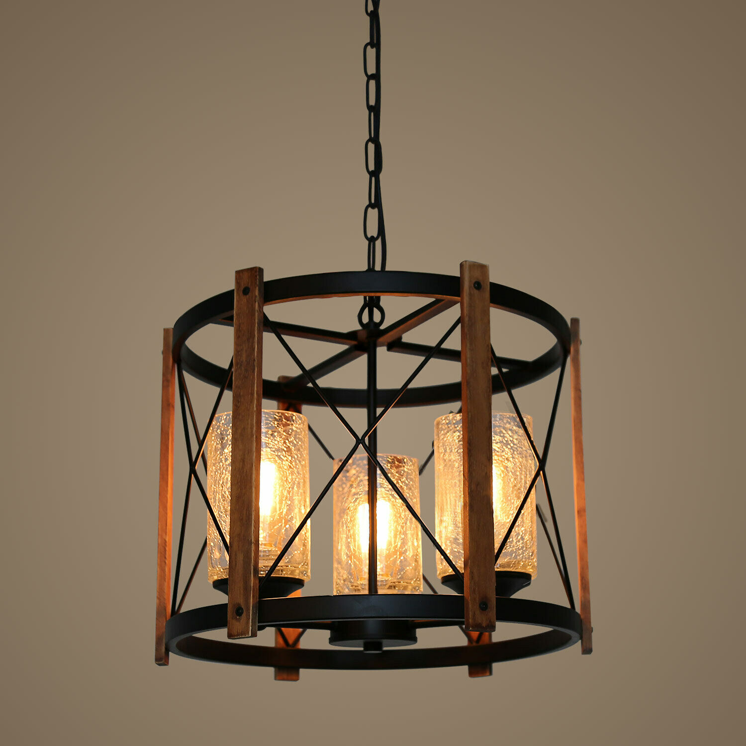 Wood Farmhouse Rustic Chandelier Vintage Industrial Hanging Light 3 Lights Ebay