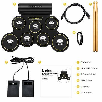 Ivation Portable Electronic Drum Pad – Digital Tabletop Drum Kit w/ 7