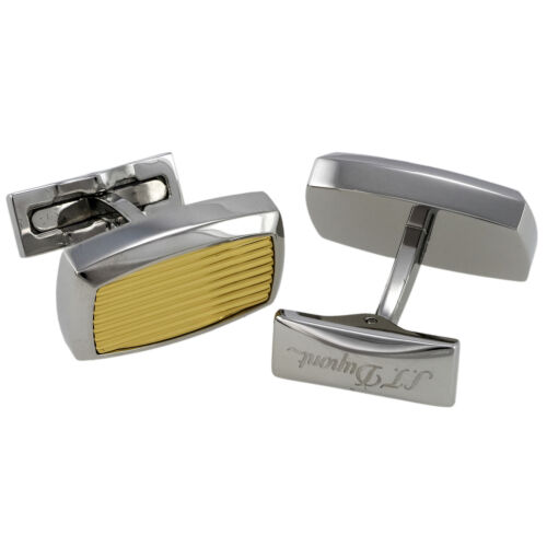 S.T. Dupont Gold and Palladium Guilloche Cufflinks, 005503, 0053, New In Box
