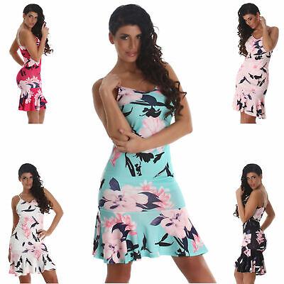 Kleid Midikleid mit Blumen Tanz Party Latina Dress Sommer elegant Sexy NEU Größe - Sexy Tanz