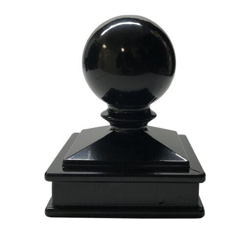 "2.5"" x 2.5"" Decorex Hardware Aluminium Ball Top Post Cap for Metal Posts - Black"